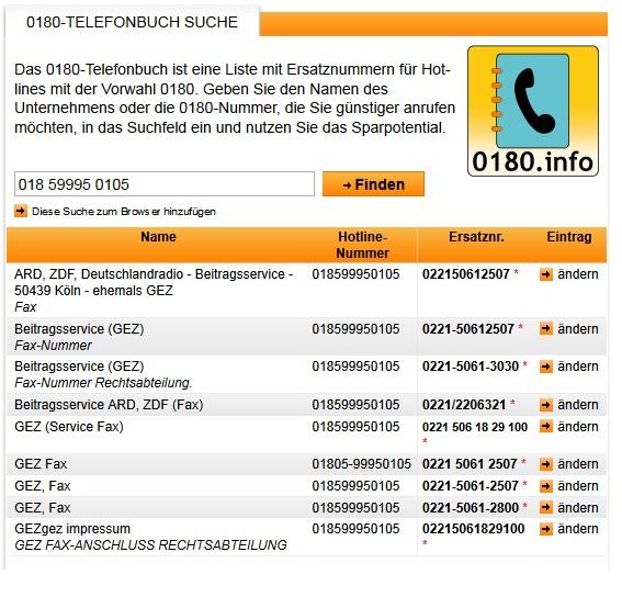 GEZ - Faxnummernsuche bei 0180.info_15.01.2015